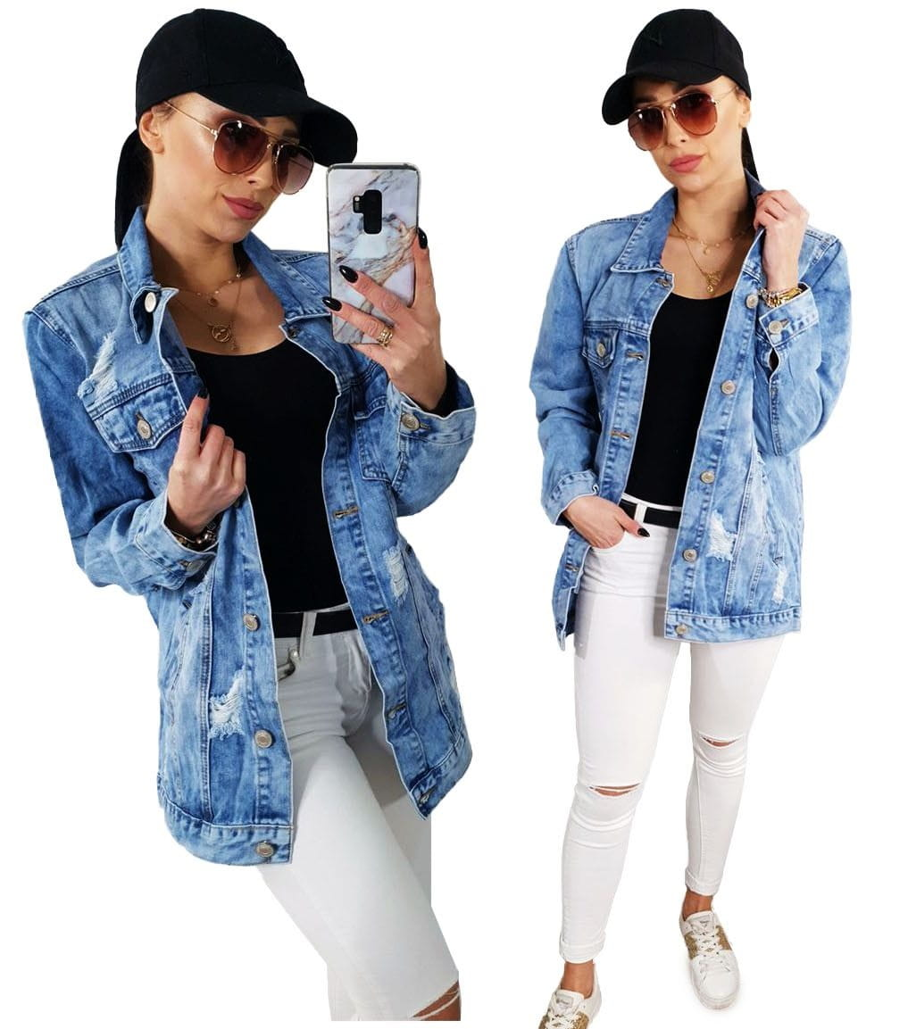 Wiosenna jeansowa damska kurtka LONG jeans katana - 7024