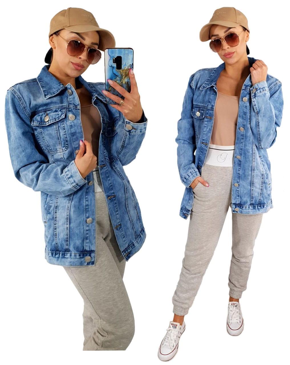 Wiosenna jeansowa damska kurtka LONG jeans katana - 7027