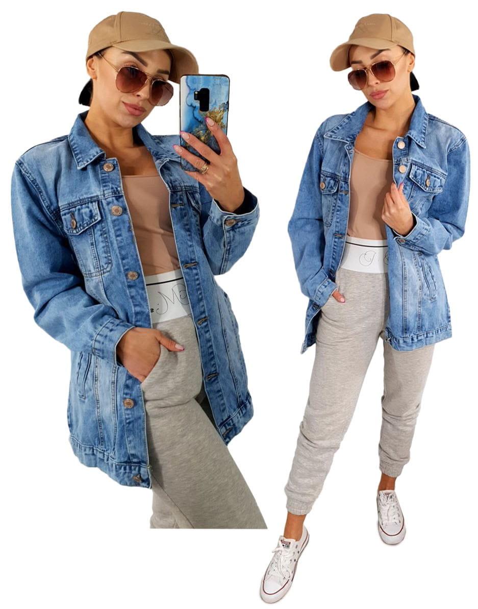 Wiosenna jeansowa damska kurtka LONG jeans katana - 7032