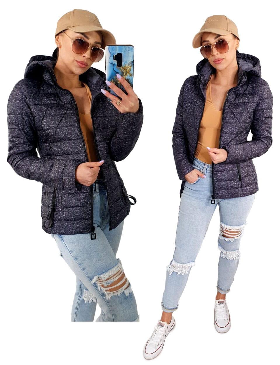 Wiosenna zgrabna pikowana kurtka damska z kapturem 7211 - FIOLET/SZARY